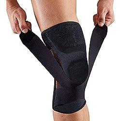 Attelle de genou avec coussinets rembourré- 1 pièce, Black-L