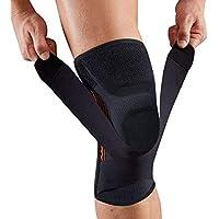 Tutore o supporto per ginocchio con stabilizzatori di pressione imbottiti in gel e protezione per ginocchio, adatti per la corsa, lo sport, per alleviare i dolori articolari della rotula e recupero da infortunio, pezzo singolo, Black-L