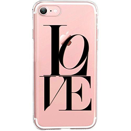 GIRLSCASES® | iPhone 8 / 7 Hülle | Mit coolen Spruch Aufdruck Motiv | Smile | Case transparente Schutzhülle | Farbe: weiß | love - schwarz