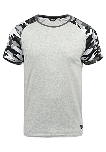 !Solid Cahil Herren T-Shirt Kurzarm Shirt mit Rundhalsausschnitt und Camouflage-Muster, Größe:XXL, Farbe:Light Grey Melange (8242)
