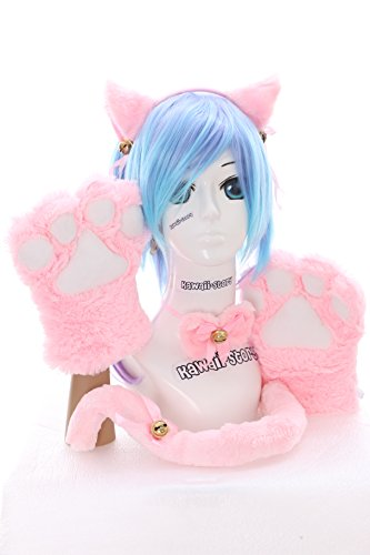 C-20-3 rosa Katzen Pfoten Handschuhe Schwanz Halsband Ohren Haarreif Set 5-teilig Lolita Maid Cosplay