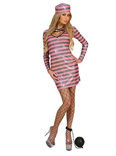 Widman Knastbruder Damen verurteilen - Schwarz / Pink Holographic - Convict - Erwachsene Phantasie kleiden Kostüm