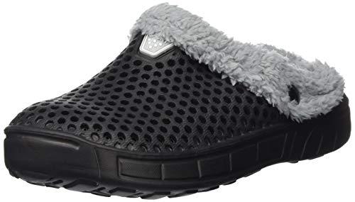 HangFan Männer Frauen Mules Clogs Slip Auf Garten Schuhe Pelz Gefüttert Folien Flip-Flops Warme Winter Slipper Schwarzes Fell-40