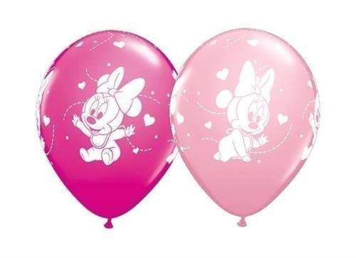 Qualatex Disney Baby Minnie C & # x153; urs 27.9cm Globos Látex (Variés rosa & bahía salvaje, paquete de 10)