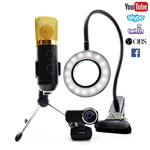 Twitch Streaming-Kit, Streaming-Kamera, inkl. 1080p Webcam HD, Streaming-USB-Mikrofon und LED-Videoleuchte -