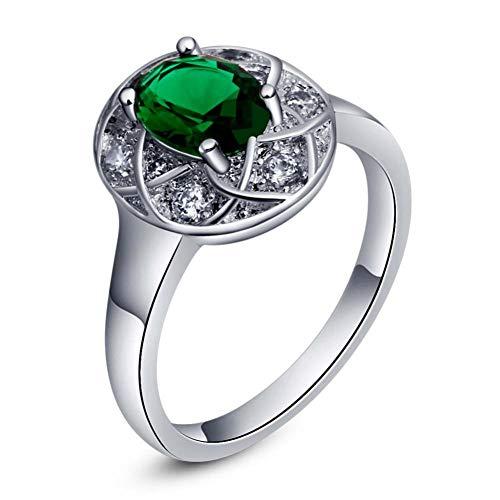 CBLXN Ring damen Zirkon Silber überzogene ovale 925 Silber Ring Schmuck, Damen Ring Kostüm JewelryJoint Ring Finger Damen Ring Schmuck (Cocktail Ringe Kostüm)