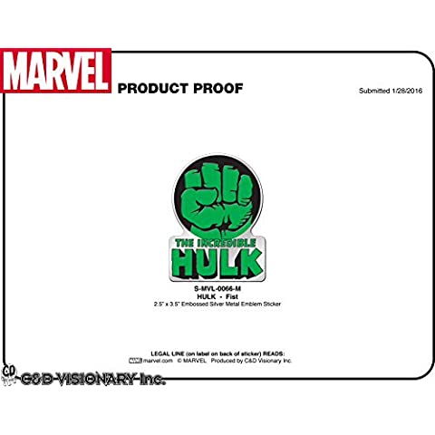 MARVEL COMICS RETRO HULK FIST, Officially Licensed Original Artwork - Heavy Duty Metal Sticker DECAL pegatina