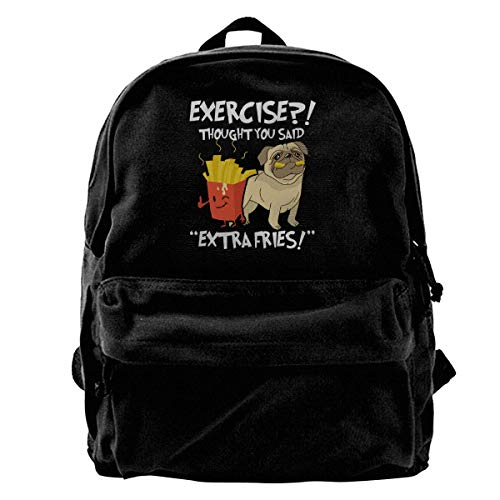 Exercise I Thought You Said Extra Fries Backpack Unisex Classic School Bookbags Canvas Backpack Travel Bag Duffel Bag 14Inch Laptop Bag Purse for Boy's Girl's Extra Large Camera Bag