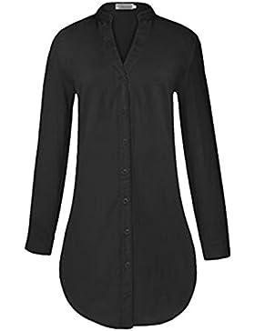 Donna Scollo V Manica Lunga Camicetta Maglioni T-Shirt Pulsante Sweatshirt Top Classico Casual Puro Colore Fit...