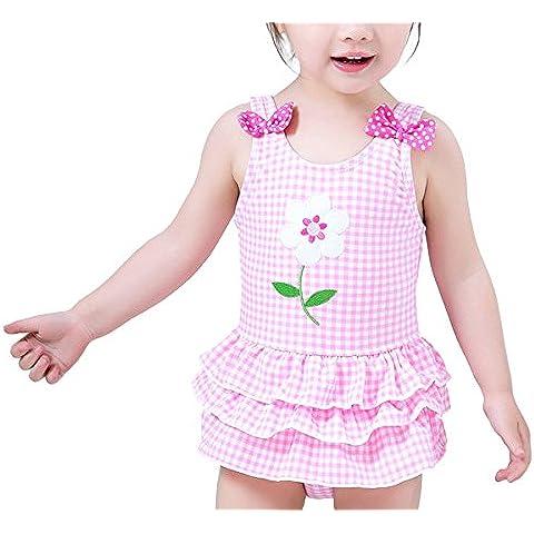 HAPPY CHERRY Bañador Infantil Traje de Baño de Una Pieza de Tipo Vestido Swimsuit Swimwear para 1 - 5 Años Bebés Niñas Verano Playa