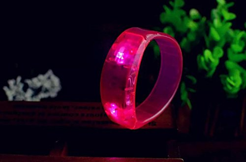 Sansee Party Rave Concert Voice Control LED Light Bracelet Bangle Sound Activated Glows  Pink