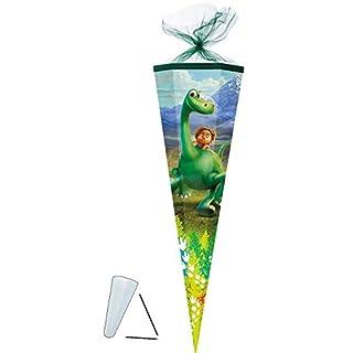 alles-meine.de GmbH Schultüte -  Arlo & Spot - der Gute Dinosaurier  - 35 cm - rund - mit Tüllabschluß - Zuckertüte - mit / ohne Kunststoff Spitze - für Mädchen & Jungen - Dino..