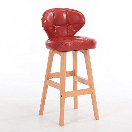 Guo shop- Minimaliste, bois massif, cuir artificiel coussin bar réception européenne chaise en bois banc vintage tabouret de bar hauteur 78cm Bonne chaise (Couleur : Rouge, taille : B)