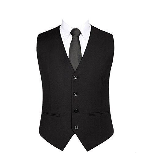 Moin Herren Weste Anzugweste Anzug-Weste Casual Business stilvoll feierlich Eng Geschnittenes Vest Einreiher Weste Schwarz 4XL