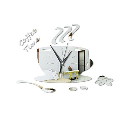 Marcus R Caveggf G'z Wanduhr DIY Kaffeetasse Spiegel Leise Wohnzimmer Schlafzimmer Harz 35 * 25 cm Uhren, 003