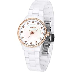 Time100 Women's New Fashion Luxury Plated Alloy Crystal Bezel Shell Dail White Ceramic Band Ladies Quartz Wrist Watches #W50375L.02A