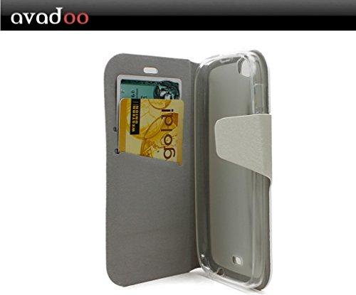 avadoo® Wiko Darkfull Flip Case Cover in Arcticweiß mit Magnetverschluss als Cover Tasche Hülle