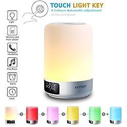 Ultima versión Keynice lamparita de noche, lámpara de mesa con sensores táctiles + Luz de noche Multicolor regulable con altavoz Bluetooth, Reloj despertador, ranura para tarjeta del TF, manos libres y función temporizador - Blanco