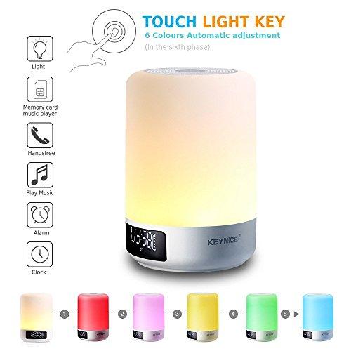 Keynice Lampe de chevet ,Capteur tactile Lampe de table+Multicolore Dimmable Lumière de nuit avec haut-parleur Bluetooth,réveil Fente pour carte TF,Mains libres&fonction de temporisation - Blanc …