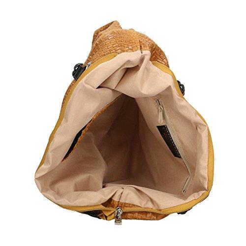 CTM Femme Sac à bandoulière avec de grandes poignées, motif tressé, en cuir véritable Fabriqué en Italie - 40x34x10 Cm bronzer
