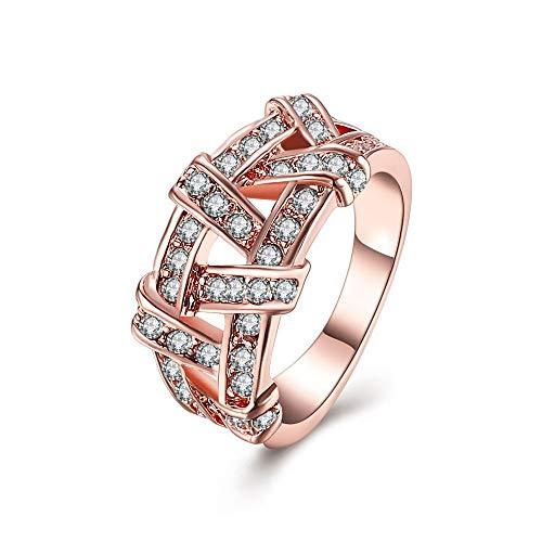 CBCJU Kreative Twisted Pair Ring Europa und Amerika einfache Mode Damen Ring 8 Roségold