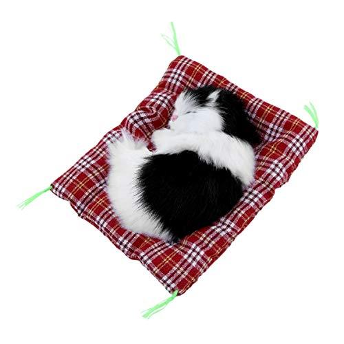 WEIWEITOE Mini Schöne Nette Kleine Simulation Tier Handwerk Puppe Plüsch Faul Schlafende Katzen mit Sound Kinder Spielzeug Geburtstagsgeschenk Puppe Stofftier, schwarz, (Handwerk Net)