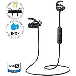 Mpow Ecouteur Bluetooth 5.0 Intra-Auriculaires,IPX7 Etanche,Bluetooth 5.0,9-10 Heures de Lecture/Audio HD AptX,Ecouteur Sport Jogging/Course, Ecouteur Magnétique avec Microphone pour IPhone Android