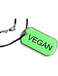 Vegan - Military Dog Tag Black Cord Necklace