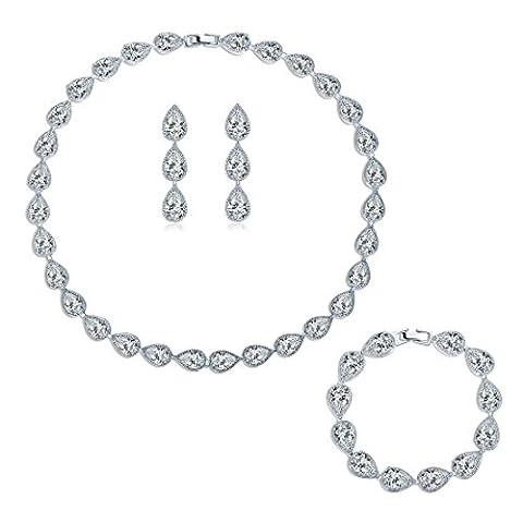 MASOP Braut Schmuckset Weiß Armband Ohrringe Ohrhänger und Halskette Tropfen Zirkonia CZ Bling Hochzeitsschmuck