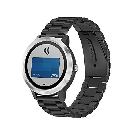 YockTec Garmin Vivoactive 3 Armband-Edelstahl-Mesh-Armband Ersatzarmband/Band Strap mit einzigartigen Smart Magnetverschluss für Garmin Vivoactive 3 Smart Fitness Watch (Schwarz) (Sein Und Ihrs Magnetische Armband)