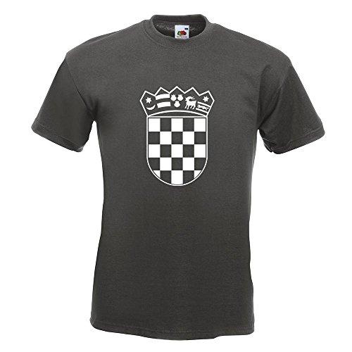 KIWISTAR - Flagge Kroatien Wappen T-Shirt in 15 verschiedenen Farben - Herren Funshirt bedruckt Design Sprüche Spruch Motive Oberteil Baumwolle Print Größe S M L XL XXL Graphit