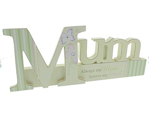 Mum Sentiment groß Kaminuhr Plaque-Always my Mum, Forever My friend-Pastell-Schmetterling Design