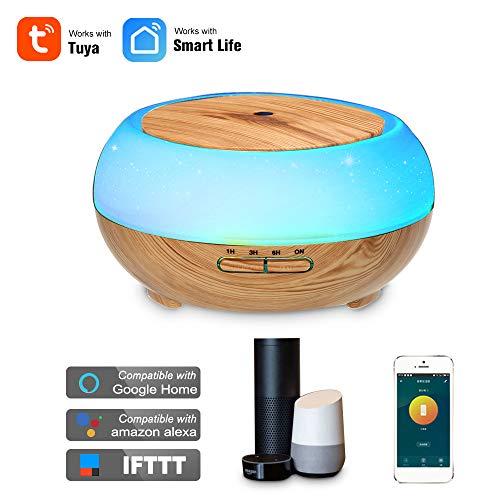 OWSOO Diffusor Luftbefeuchter 400ml Smart WiFi Wireless LED Nachtlampe Ätherisches Öl Aromatherapie Nebel Diffusor Vernebler Raumbefeuchter Telefon App Control Sprachsteuerung mit Alexa Google Home
