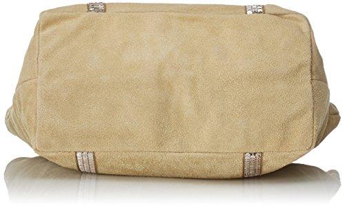 CTM Handtasche der Frau aus echtem weichem Wildleder in Italien - 43x34x18 Cm Grau (Fango)