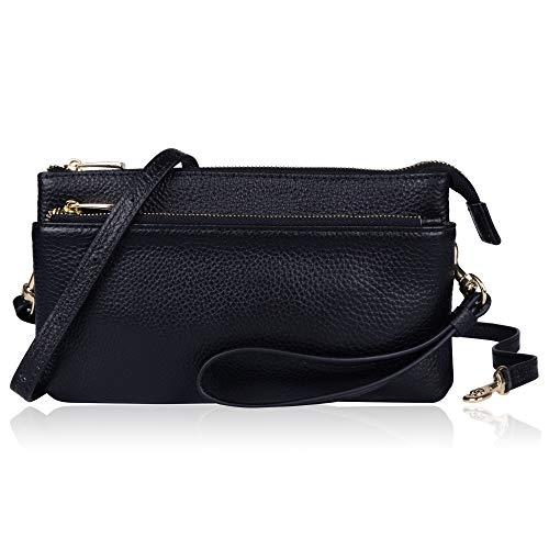 arbtem Leder dreifacher Reißverschluss Umhängetasche Crossbody Geldbörse Portemonnaie Handy Tasche Handy Wristlet, Black Plus ()