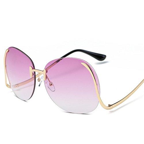 RFVBNM Farbe Ocean Film ohne Rahmen geschwungene Beine Sonnenbrille Mode Metall Lady Sonnenbrille europäischen Mode Sonnenbrillen, ich -