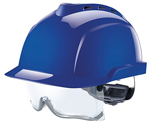 MSA V-Gard 930 Profihelm EN397 mit Belüftung und Drehradregelung Fasttrack, inkl. Integriertem Schutzvisier, Farbe: Blau 1-kanal-visier