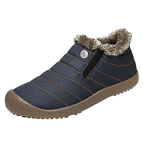 BHYDRY Schuhe Herren Warm Bequem Flache Schuhe PlüSch Futter Wasserdicht Baumwollschuhe Schneestiefel Couple Booties PlüSchschuhe(39 EU,Herren Dunkelblau)