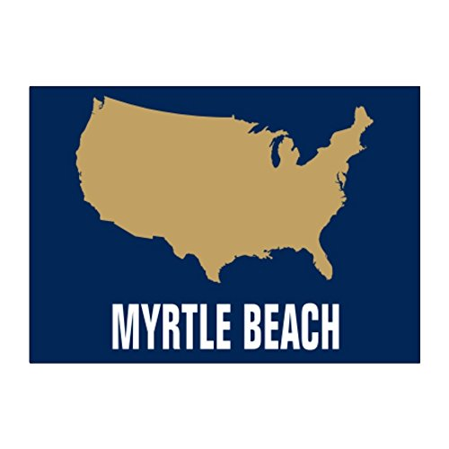 Teeburon Myrtle Beach USA Map Aufkleber Packung x4