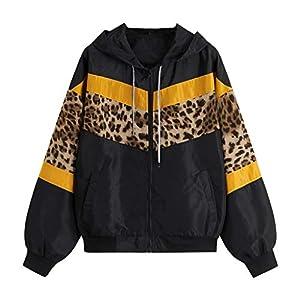 Toasye Frauen Casual Langarm Kapuze Reißverschlusstasche Nähte Kontrast Leopard Windbreaker Jacke Gefüttert Langarm Frauen Jacke Mantel Cord Patchwork Große Größen