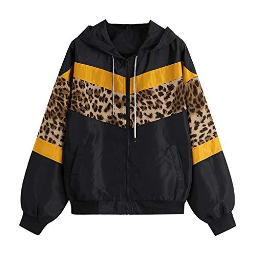 Toasye Frauen Casual Langarm Kapuze Reißverschlusstasche Nähte Kontrast Leopard Windbreaker Jacke Gefüttert Langarm Frauen Jacke Mantel Cord Patchwork Große Größen (Cord-gefütterte Mantel)