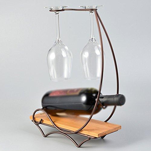 NAN Porte-bouteilles en fer bambou rétro gobelets Upside Down Home Salon Décoration