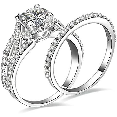 (Personalizzati Anelli)Adisaer Anelli Donna Argento 925 Anello Fidanzamento Incisione Gratuita Ovale Doppio Anello Diamante Set di Anelli