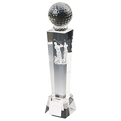 170mm Crystal Tower Golf Trophy,Award,Free Engraving (T9438) twt