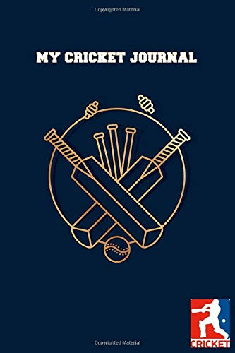 MY CRICKET JOURNAL DOT GRID STYLE NOTEBOOK: 6x9 inch daily bullet notes on dot grid design creamy colored pages with beautiful blue cricket bat and ... gift idea for sporty woman and man player