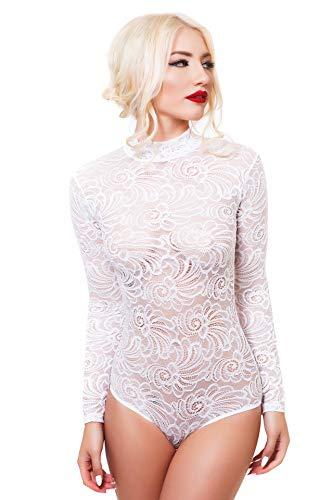 Evoni String-Body für Damen S=36 | Spitzen-Body mit Halbkragen in Weiß | transparenter Langarm-Body | Frauen Bodysuit | Damen Dessous | Florale Spitze | Verschluss-Haken | eleganter Jumpsuit