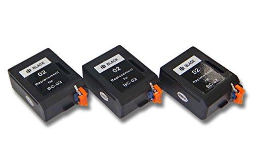 vhbw 3X Druckerpatronen Tintenpatronen Set für Canon BJC20, BJC100, BJC150, BJC200, BJC210 J, BJC230, BJC240 wie Canon BC-01, BC-02, BX-02. - Bc-02 Patrone Schwarz