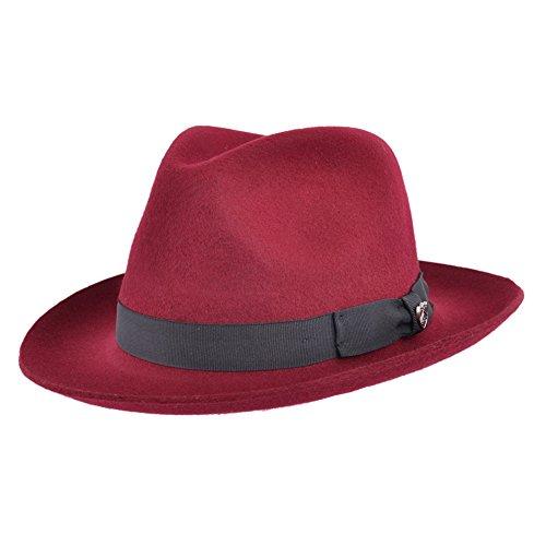 Gladwin Bond qualità realizzato a mano Fedora Trilby cappello con banda abbinata 100% lana Maroon M-57 cm