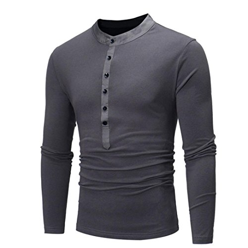 Men ' s casual Slim fit manica lunga maglietta Shirt Top ,Yanhoo® Sweatshirt - Felpa a manica lunga da uomo Felpa Girocollo Maniche Raglan - Uomo Grigio scuro