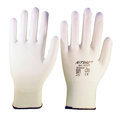 12 Paar Montagehandschuh Nylon NITRAS 6200 weiß PU Handschuhe Gr.M Nylon-handschuh